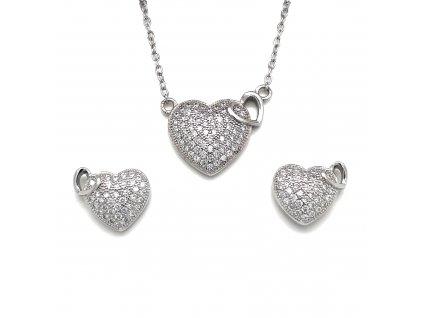 Sada šperků se zirkony náušnice a přívěsek dvě srdce bílá 19002.1 crystal