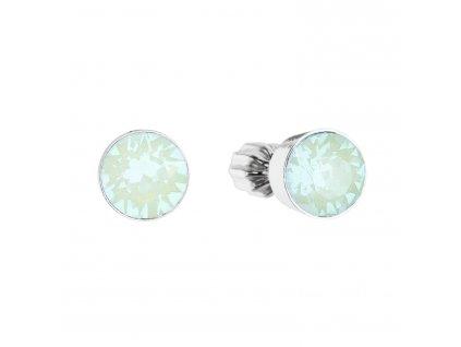 Stříbrné náušnice pecky s krystaly Swarovski zelený opál kulaté 31113.3 pacific opal