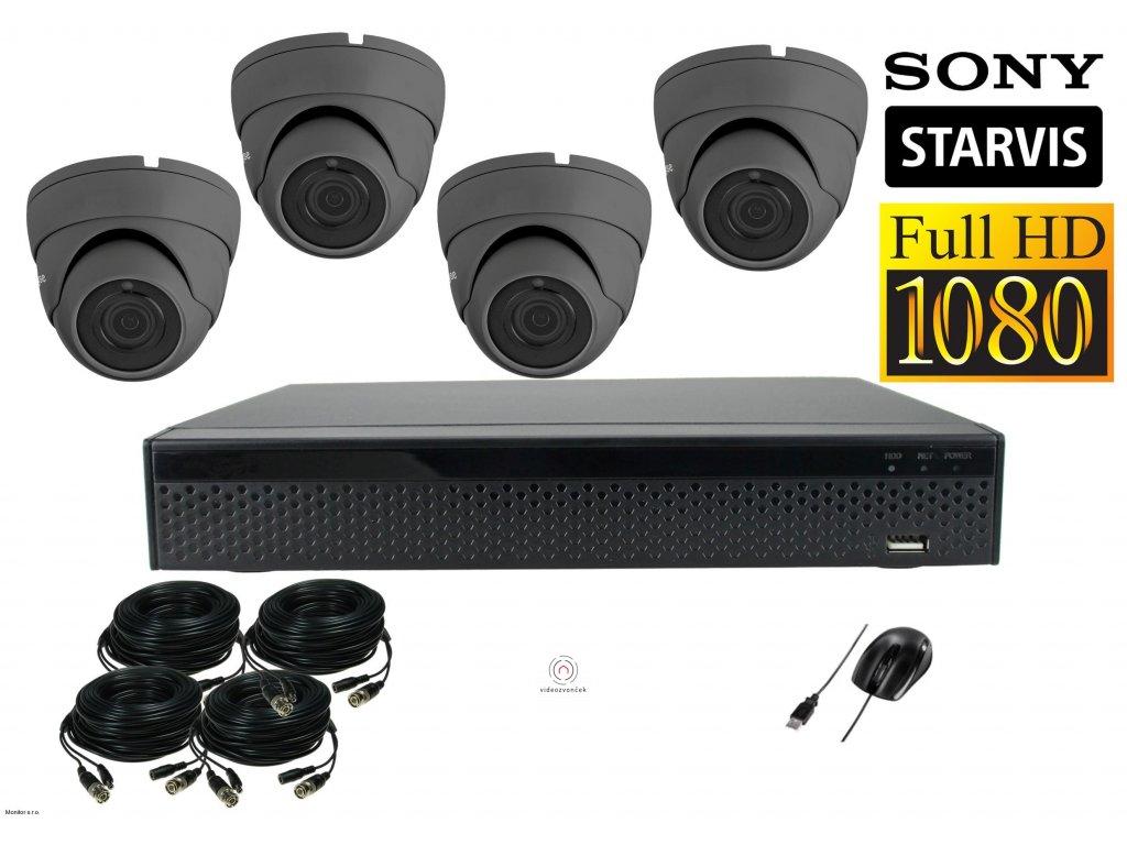 Dome Monitor AHD kamerový set 4 kanálový 2,1 M.Pix.