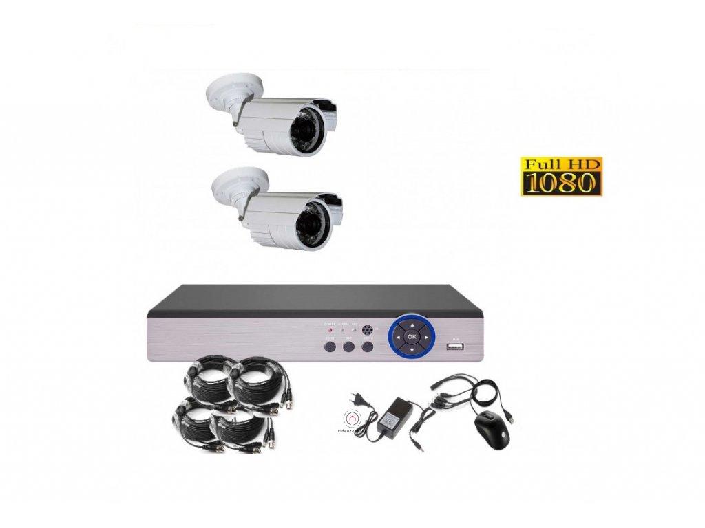 4CH 2MPx AHD kamerový set CCTV DVR s LAN a 2x bullet CZ menu, P2P, HDMI, IVA, H265+ 1100x750