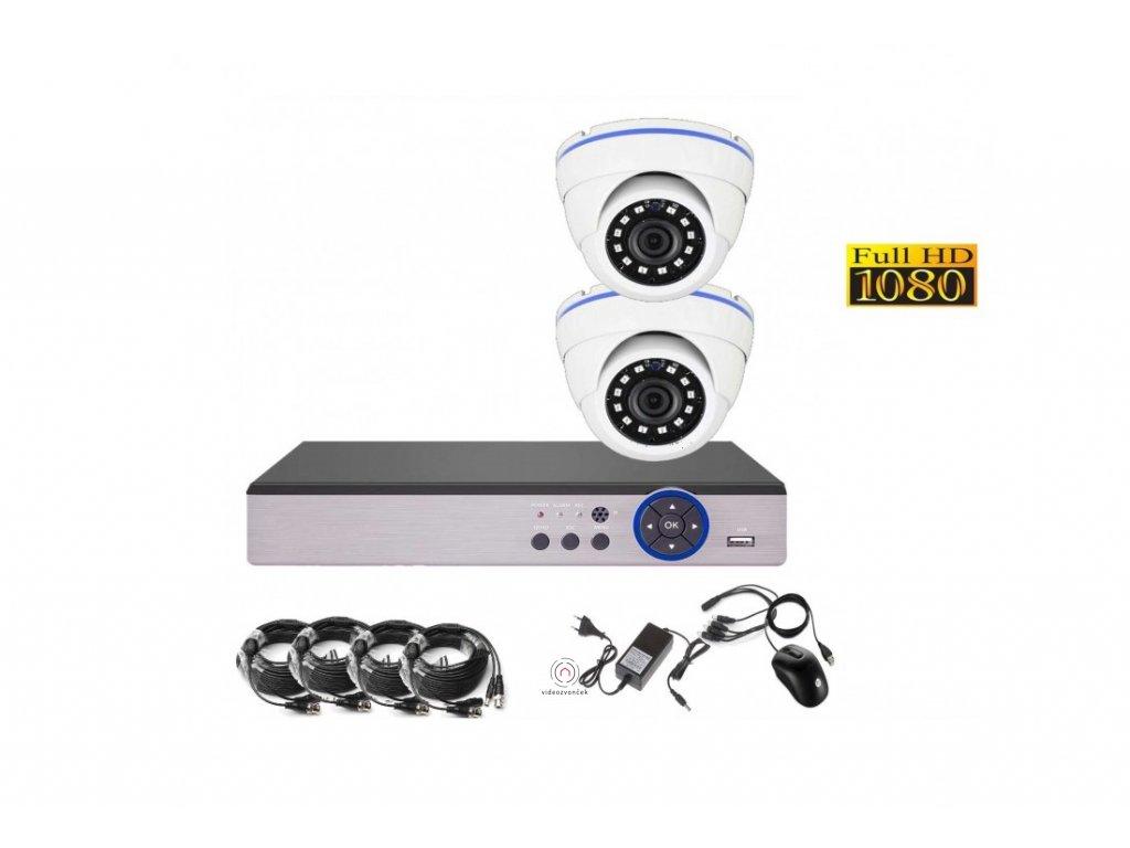 4CH 2MPx AHD kamerový set CCTV DVR s LAN a 2x dome CZ menu, P2P, HDMI, IVA, H265+ 1100x750