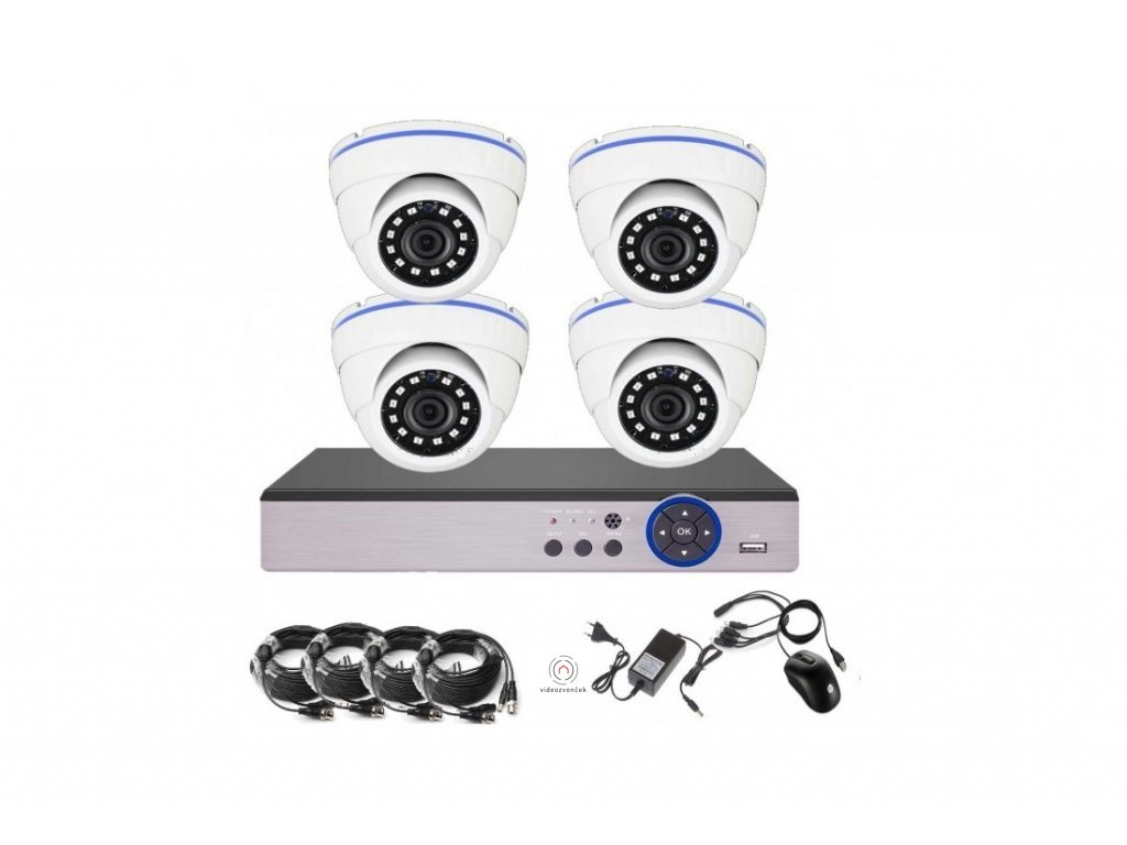 4CH 5MPx AHD kamerový set CCTV - DVR s LAN a 4x vonkajšie dome, 2688×1920px/CH, CZ menu,P2P, HDMI, IVA, H265+
