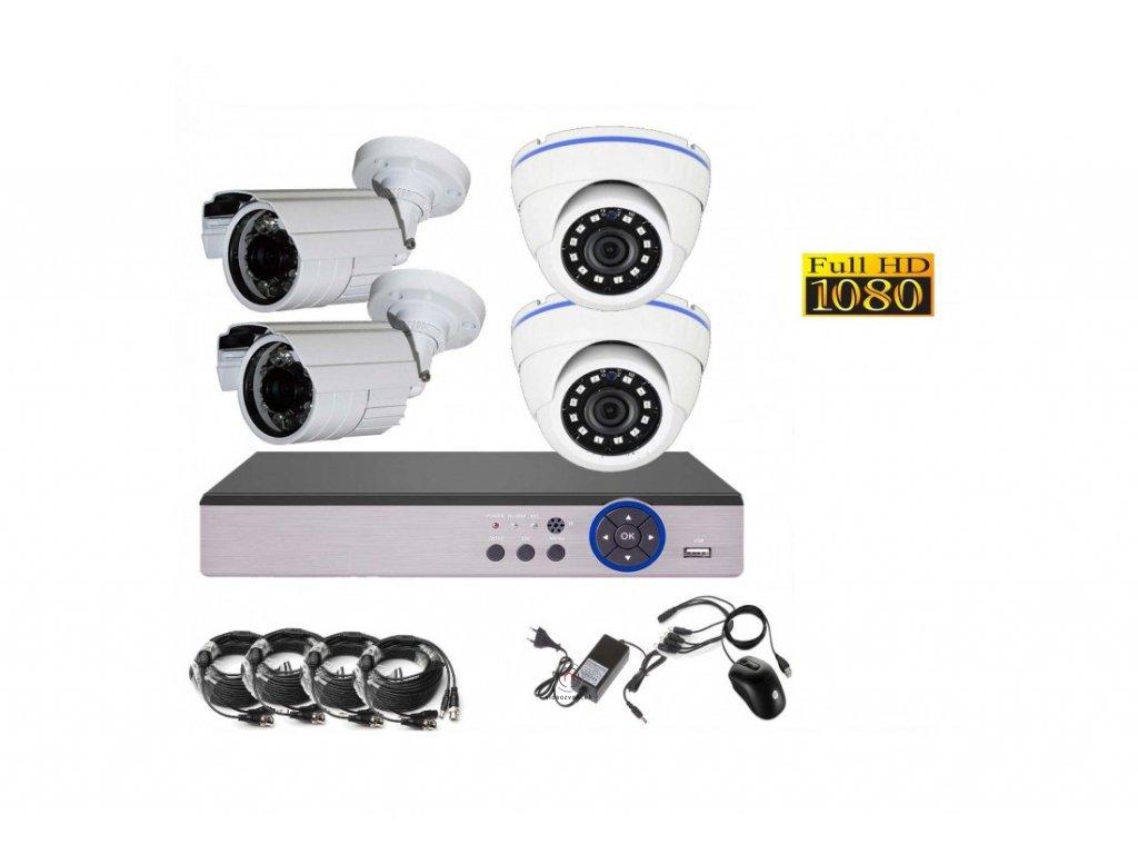4CH 2MPx AHD kamerový set CCTV DVR s LAN a 2 2x venkovní bullet dome CZ menu, P2P, HDMI, IVA, H265+ 1100x750