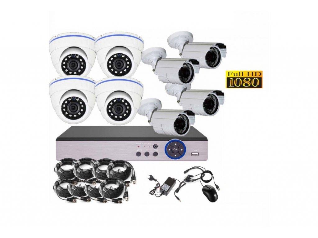 8CH 2MPx AHD kamerový set CCTV DVR s LAN a 4 4x venkovní bullet dome CZ menu, P2P, HDMI, IVA, H265+ 1100x750