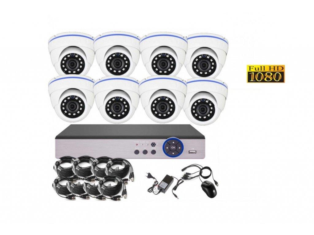 8CH 2MPx AHD kamerový set CCTV DVR s LAN a 8x dome, CZ menu, P2P, HDMI, IVA, H265 1100x750