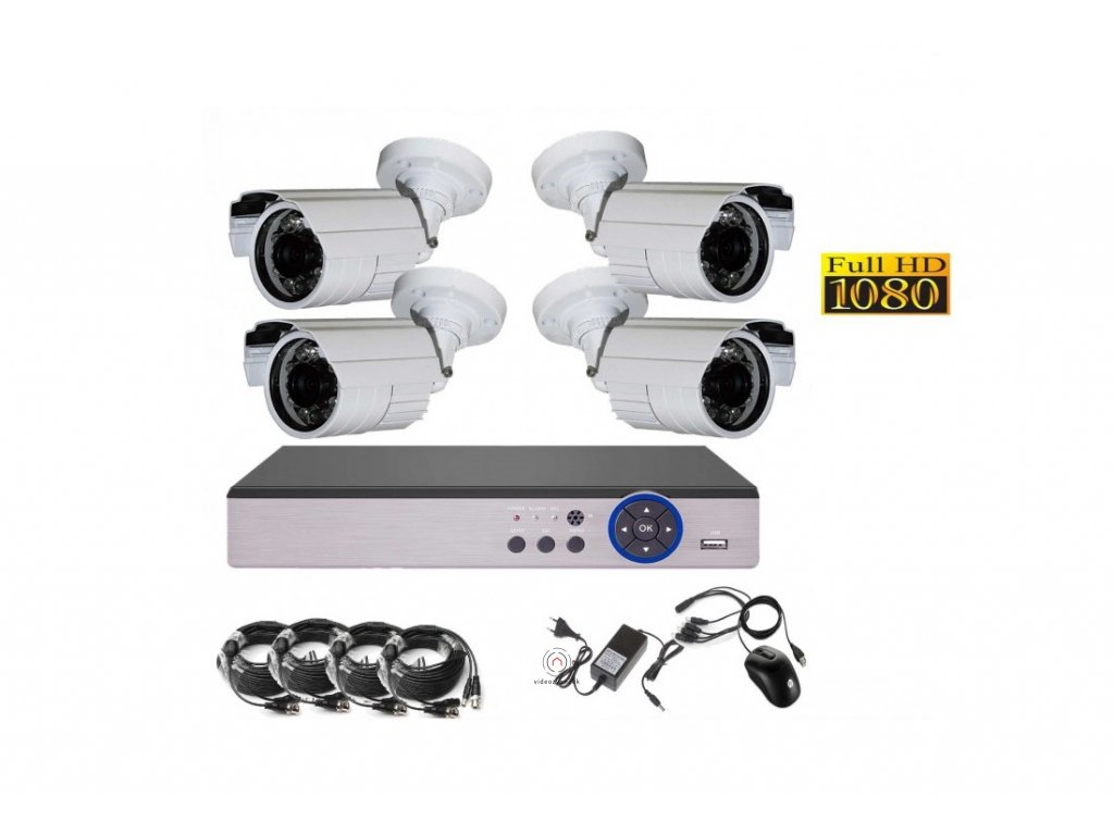 4CH 2MPx AHD kamerový set CCTV DVR s LAN a 4x venkovní bullet , CZ menu, P2P, HDMI, IVA, H265+ 1100x750