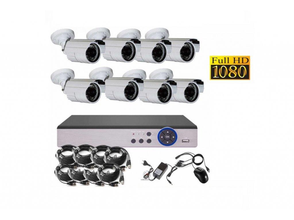 8CH 2MPx AHD kamerový set CCTV DVR s LAN a 8x venkovních bullet, CZ menu, P2P, HDMI, IVA, H265+ 1100x750