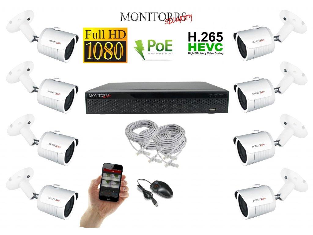 Monitorrs Security IP kamerový set 8 kanálový 2 M.Pix PoE