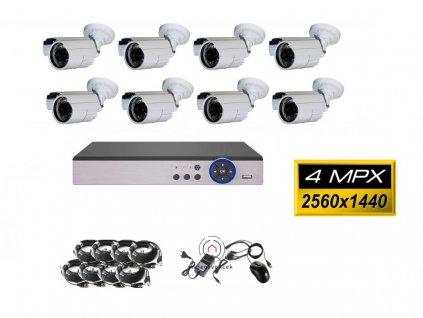 8CH 4MPx AHD kamerový set CCTV - DVR s LAN a 8x vonkajšie bullet , 2688×1520px/CH, CZ menu,P2P, HDMI, IVA, H265+