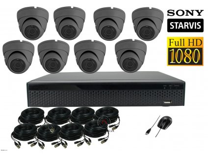 Dome Monitor AHD kamerový set 8 kanálový 2,1 M.Pix.