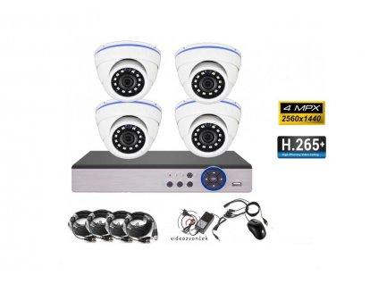 4CH 4MPx AHD kamerový set CCTV DVR s LAN a 4x dome , 2688×1520pxCH, CZ menu, P2P, HDMI, IVA, H265+ 1100x750