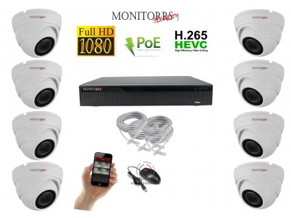 Monitorrs Security IP kamerový set 8 kanálový 2 M.Pix PoE