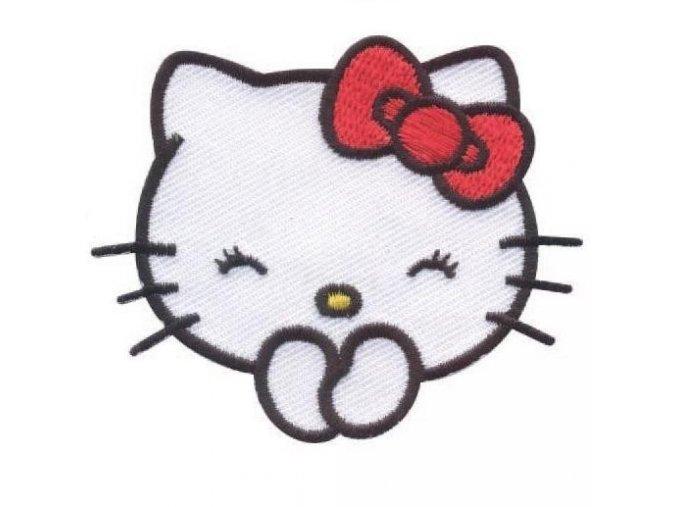 vyšívaná nažehlovačka Hello Kitty šťastná