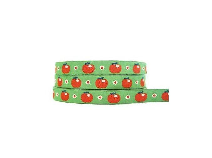 tkaná stuha Retro zelená jablka