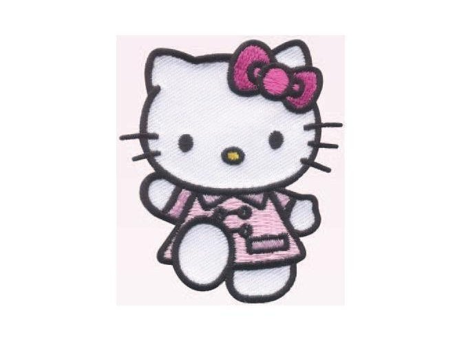 vyšívaná nažehlovačka Hello Kitty růžový kabátek