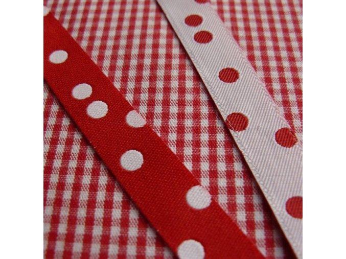 Stuha puntíkovaná červeno-bílá
