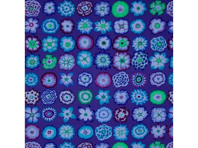 bavlněné plátno Button Flowers in Purple, Kaffe Fassett