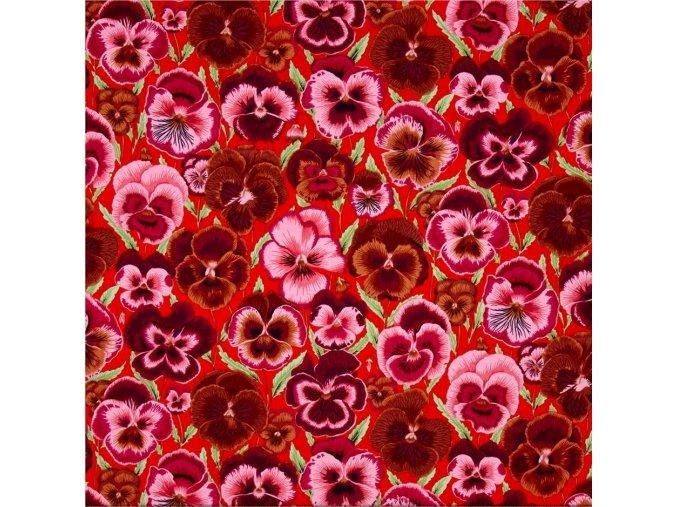 bavlněné plátno Macešky, oranžová