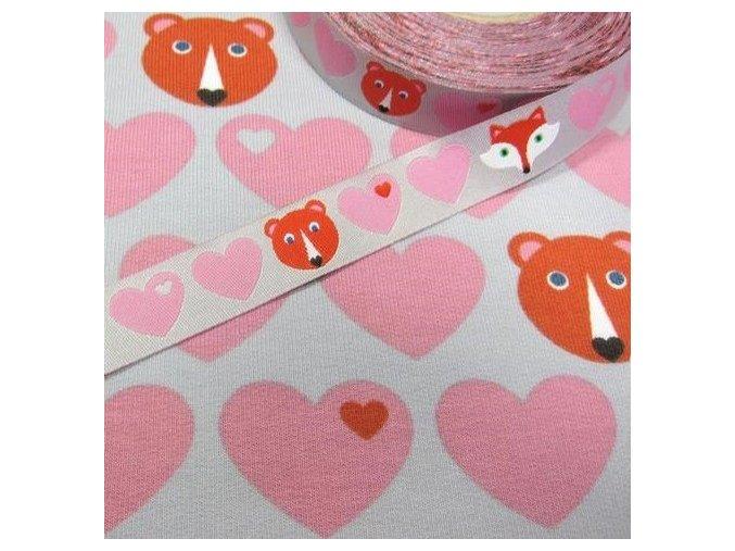 tkaná stuha Lištičky a medvídci, růžová