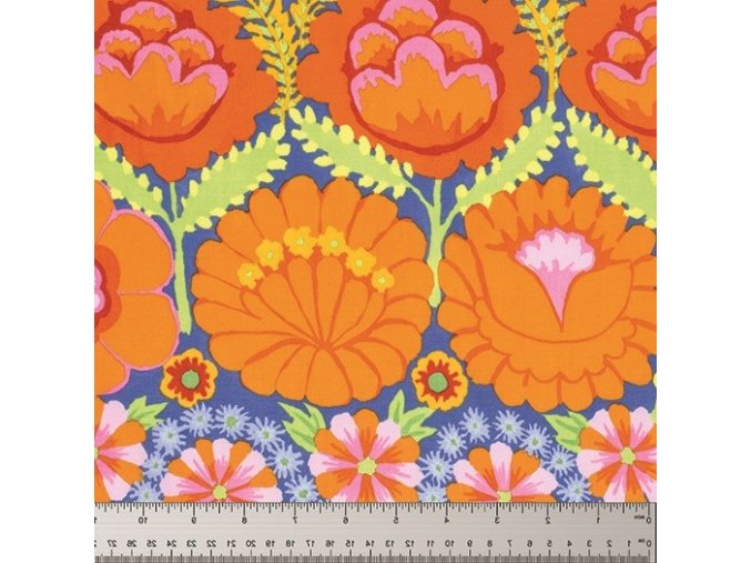 Embroidered Flower Border in Orange