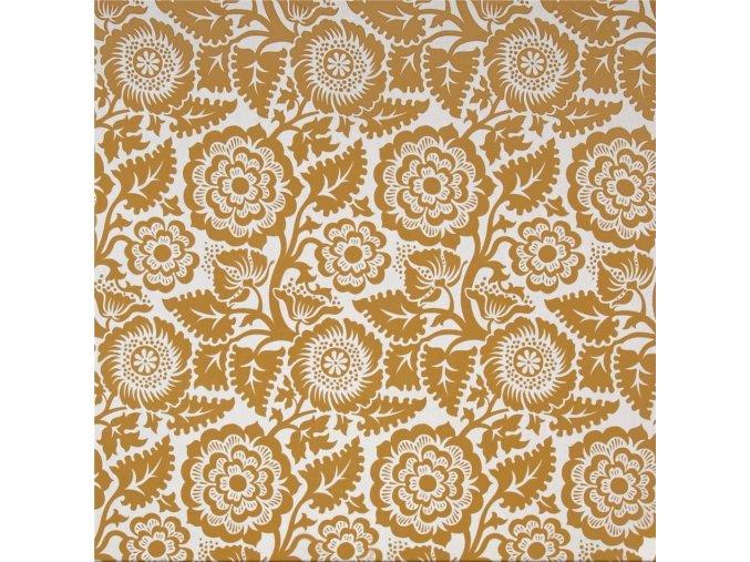 Voile Blockprint Blossom Gold
