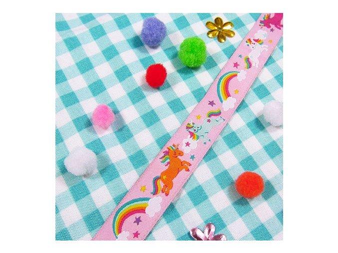 Webband ribbon rosa Einhorn farbenmix de