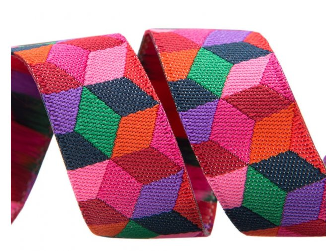 stuha Kaffe Fassett Tumblink Blocks in red, violet and pink