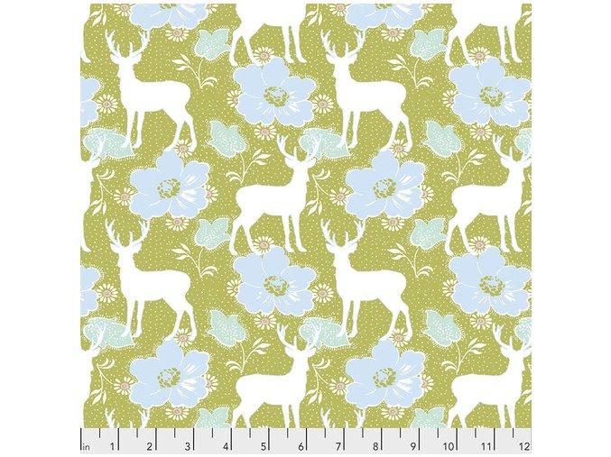 PWTW172 OLIVE Deer Floral in Olive