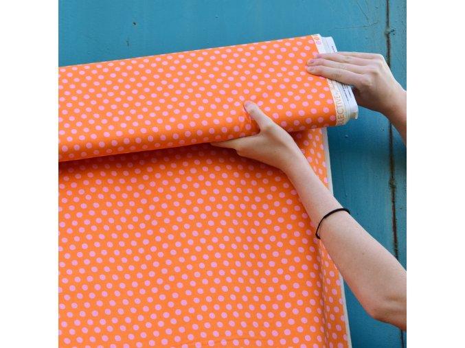 puntíky růžové na oranžové 1000x1000
