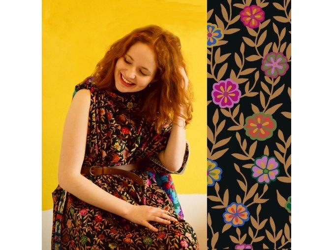 busy lizzy black metráž látka bavlněné plátno ema6