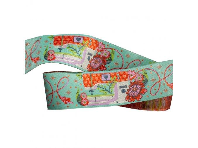 zelená tkaná stuha s motivem šicího stroje návrhářka tula pink