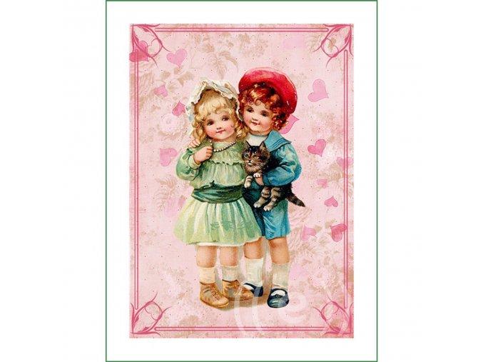 látkový vintage panel na šití obrázek dětí natištěný na plátně na patchwork nášivka na oblečení (3)