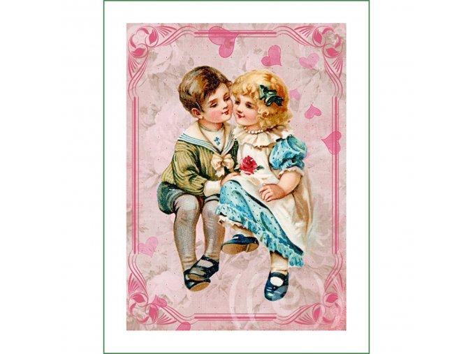 látkový vintage panel na šití obrázek dětí natištěný na plátně na patchwork nášivka na oblečení (1)