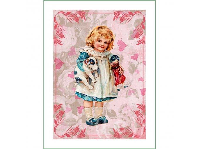 látkový vintage panel na šití obrázek holčička s panenkou a pejskem natištěný na plátně na patchwork nášivka na oblečení (4)