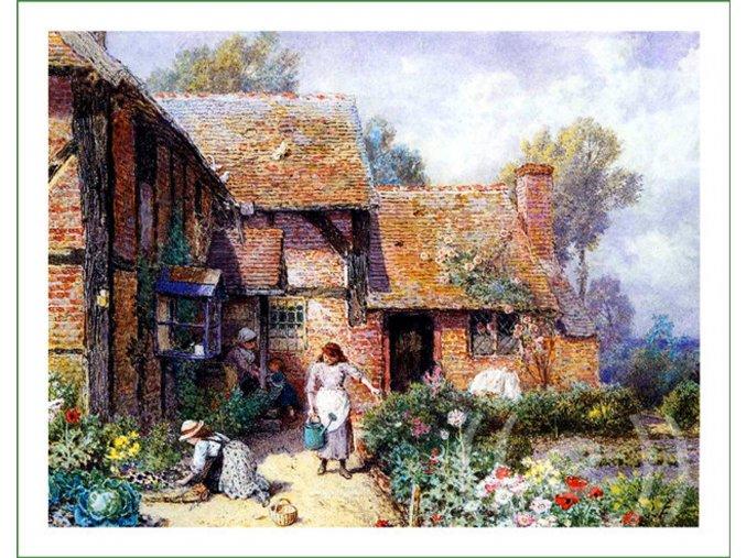 látkový panel na patchwork na šití na polštáře obraz na látce Myles Birket Foster (18)