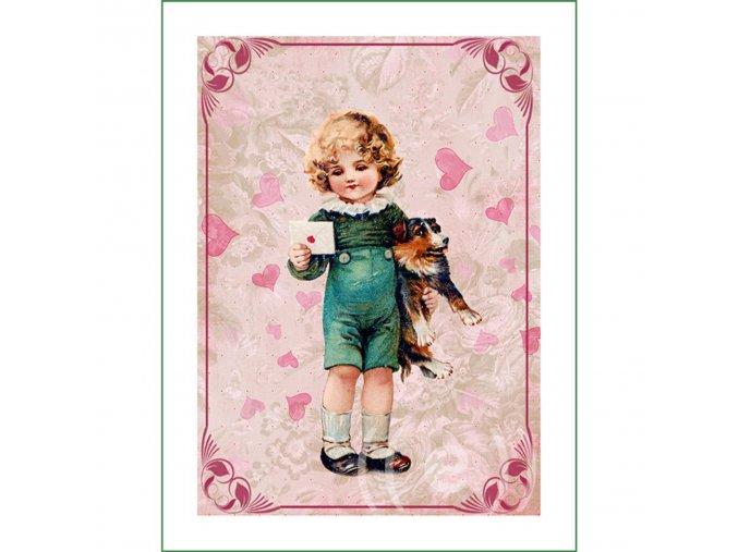 látkový vintage panel na šití obrázek kluk s dopisem a pejskem natištěný na plátně na patchwork nášivka na oblečení (6)