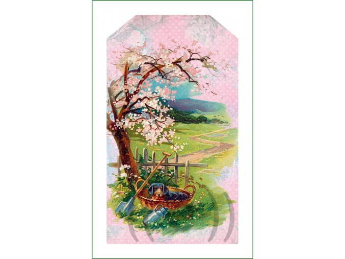 látkový vintage panel na šití obrázek natištěný na plátně na patchwork nášivka na oblečení rozkvetlý strom (198)