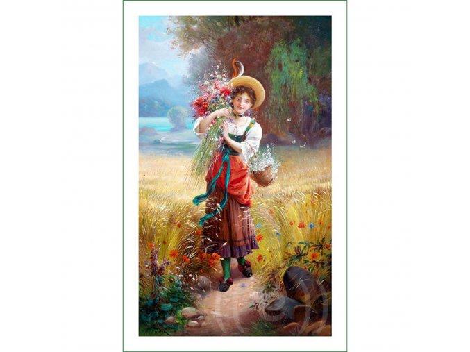 látkový panel obrázek natištěný na plátně na šití na patchwork vintage VierMa obraz dívka s květinami H.Waldek (1)