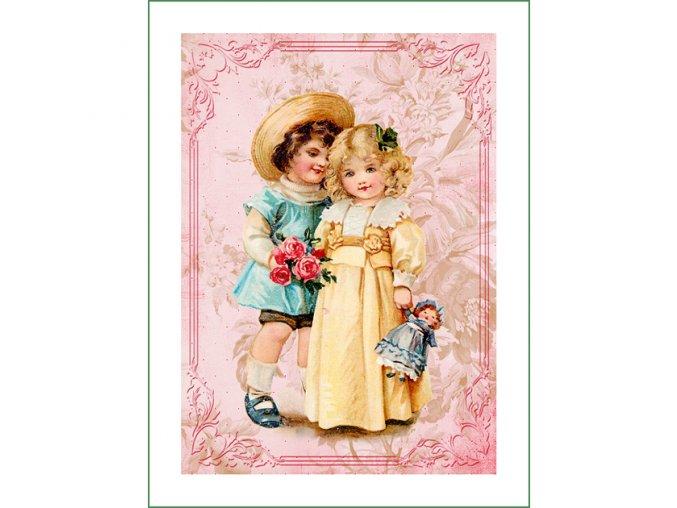 látkový vintage panel na šití obrázek dětí natištěný na plátně na patchwork nášivka na oblečení (5)