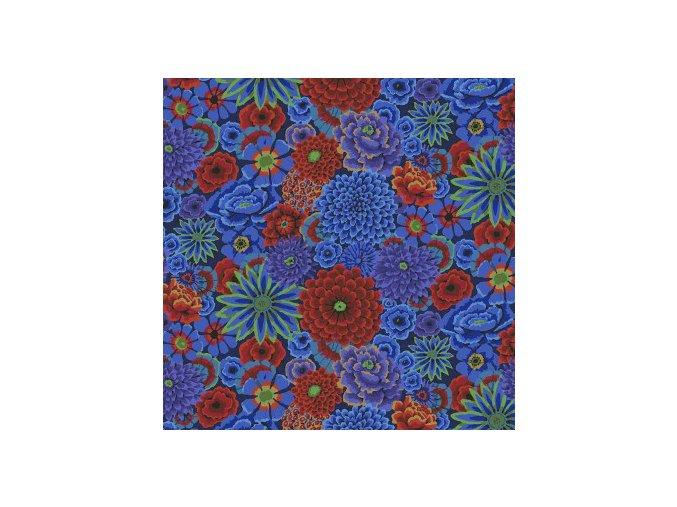 metráž kouzelná zahrada kobaltově modrá návrhář Kaffe Fassett americká látka s květinovým vzorem prodej VierMa.cz