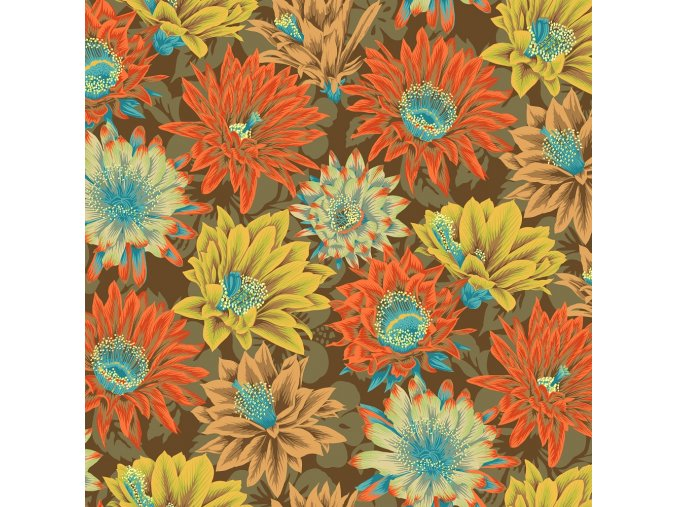 květovaná látka kaktusy hnědé návrhář Philip Jacobs na patchwork šaty šití metráž prodej VierMa.cz PWPJ096.BROWN