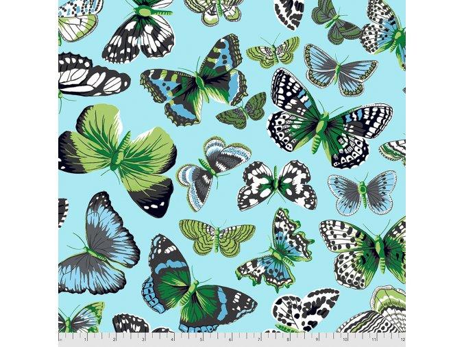 metráž motýli americká látka návrhář Philip Jacobs na patchwork na šití bavlněné plátno Butterflies in Aqua PWSL094.AQUA