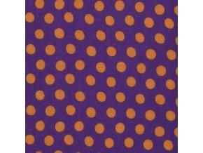 Puntíkovaná látka, oranžové na fialové