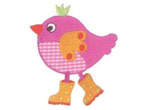 vyšívaná nažehlovačka kuře růžové