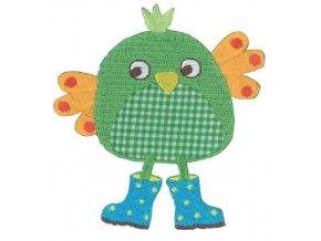 vyšívaná nažehlovačka kuře zelené