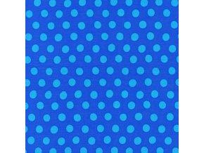 Puntíkovaná látka, modrá na modré