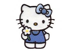 vyšívaná nažehlovačka Hello Kitty modré kalhoty