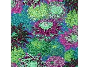metráž na patchwork Japonské chryzantémy zelené Kaffe Fassett Collective americká látka