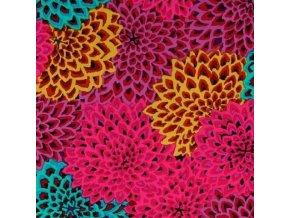 bavlněné plátno Dahlia Blooms in Figg