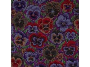 bavlněné plátno Macešky, fialová
